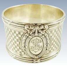 Exceptional Puiforcat French Silver Napkin Ring 1st Standard 950 Ornate Design 58 Grams