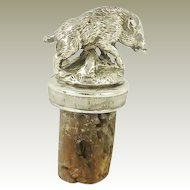 French Christofle Figural  Wine Cork Bottle Stopper in the Form of a Boar Barware Collection