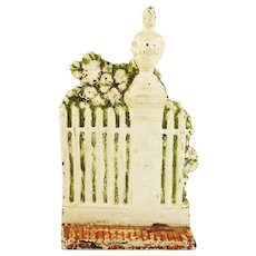Antique Cast Iron Door Stop Architectural Garden Fence with Roses  Signed by Sarah W.  Symonds