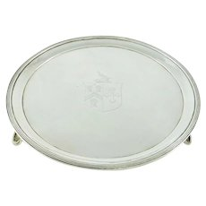 Antique Georgian Sterling Silver Salver or Card Tray With Armorial Crest London 1791