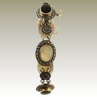 Sterling Silver Bracelet with Mother of Pearl, Onyx and Marcasite