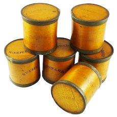 Antique Wood Spice Boxes Set of Six Containers Manufactured by Patent Package Co