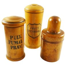 Antique Maple German Apothecary Boxes or Pharmacy Jars A Set of Three