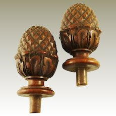 Pair of Vintage Wooden Finials or Newel Posts Decorative Turned Wood