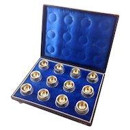 Antique Coin Silver Salt Cellars Partial Gilt Set of Twelve with Presentation Case