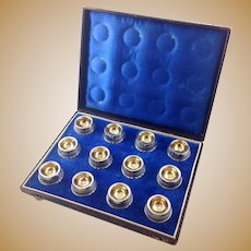 Antique Coin Silver Salt Cellars Partial Gilt Set of Twelve with Presentation Case