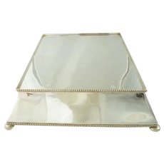 Antique English Silver Cake Plateau  Stand, Large Table Centerpiece
