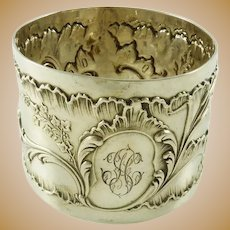 Antique French Sterling Silver Napkin Ring Flowers & Acanthus Leaves