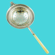 Antique English Sterling Silver Tea Strainer Over the Cup Style with Mother of Pearl Handle