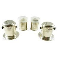 French Silver Plate Vintage Coffee Cups Filter Sets Single Cup Style Toulouse