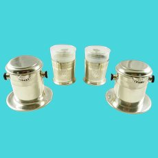 French Silver Plate Vintage Coffee Cups Filter Sets Dripper Style