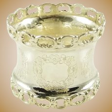 Antique French Silver Napkin Ring with Reticulated Borders.