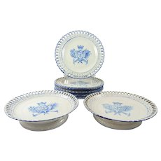 French Faience Pottery Set by Galle Eight Plates  & Two Compotes c1900