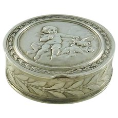 Antique French Silver Box Snuff or Pill Container with Cherub & Doves
