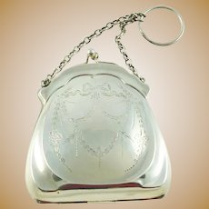 Antique French Silver Dance Purse Lady's Chatelaine Style