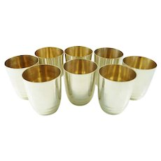 Vintage French Silver Tumblers Cocktail Cups Set of Eight
