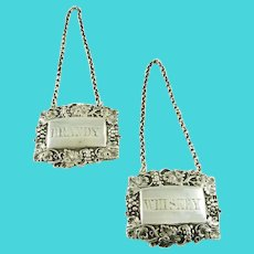 Sterling Silver  Decanter Tags or Labels, Brandy & Whiskey Victorian Era