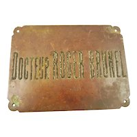 Vintage French Bronze Sign for Doctor's Office - Docteur Office Vintage Wall Decor Mid-Century Design