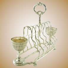 English Silver Plate Toast Rack with Two Egg Cups