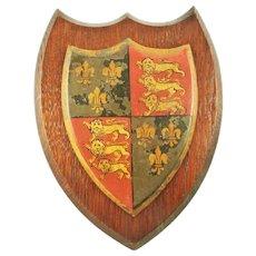 English Plaque Shield with Rampant Lion & Fleur-de-Lis Heraldry