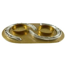 Hermès Mid-Century  Brass Valet or Tray with Silver Horseshoes