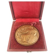 French Bronze Medal Bas Relief Agricultural Competitions Signed HM Petit