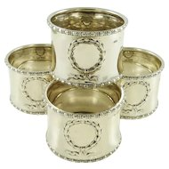 Sterling Silver Napkin Rings by Gorham Manufacturing Co Set of Four Laurel Wreaths & Ribbons