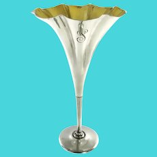 Tiffany & Co Sterling Silver Fluted Vase with Gilt Interior C 1910
