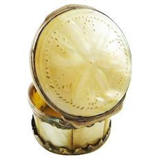Antique Mother of Pearl Snuff Box with Gilt Metal C 1800