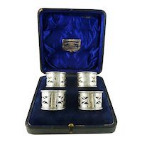Antique English Sterling Silver Napkin Rings Set of Four Boxed