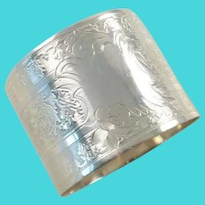 Antique French Sterling Silver Napkin Ring, Delicate Engraved Work