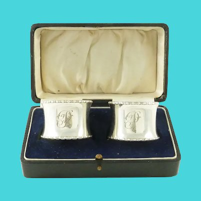 """English Sterling Silver Napkin Rings, Monogram """"P"""",  A Pair with Presentation Box"""