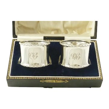 English Sterling Silver Napkin Rings, Antique Boxed Pair