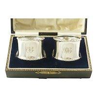 Pair English Sterling Silver Napkin Rings, Presentation Box