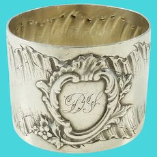 Antique French Sterling Silver Napkin Ring,  Rococo  Louis XV Style