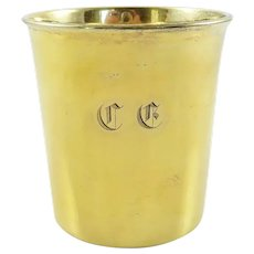 Antique French Sterling Silver & Vermeil Timbale, Late 19th C