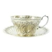Antique French Sterling Silver Cup and Saucer, Chocolate or Coffee,  Ravinet & Denfert