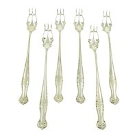 Sterling Silver Set of 6  Oyster or Cocktail Forks, Ornate Tines
