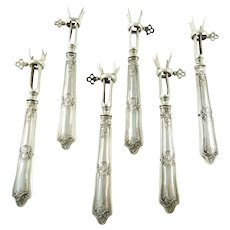 Antique French Silver Lamb Cutlet Holders  'Manches à Cotelettes', Set of Six