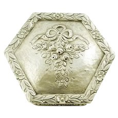 French Sterling Silver Small Box, Ribbons and Floral Motifs