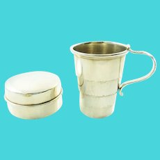 Antique Sterling Silver Collapsible Traveling Cup or Beaker