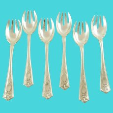 Tiffany & Co Sterling Silver Ice Cream Forks/Sporks, Set of Six Winthrop Pattern