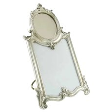 Christofle Silver Picture Photo Frame with Inset Mirror,  Louis XV Style