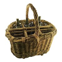 Antique French  Provincial  Wicker  Wine Basket or Carrier