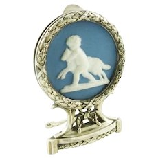 Antique French Sterling Silver & Porcelain Menu Holder, Large in Size with Putto and Lamb