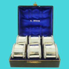 Antique English Sterling Silver Napkin Rings, Boxed Set of Six, Late Victorian