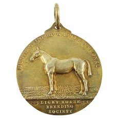 Antique Sterling Silver & Vermeil Medal Watch Fob,  Marked For The Light Horse Breeding Society