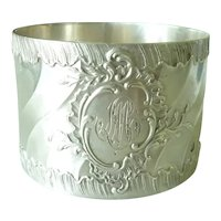 Antique French Sterling Silver Napkin Ring,  Rococo Motifs Louis XV Style