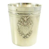 Antique French Silver Wine or Mint Julep Cup, Tumbler, Timbale