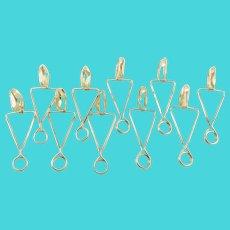 Set of Ten Escargot Tongs in Sterling Silver
